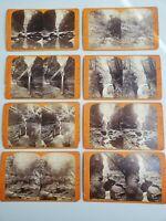 VINTAGE STEREOVIEW PHOTO CARDS BY J.D. HOPE WATKINS GLEN N.Y. SET OF 8 CARDS