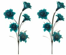Artificial Silk Flowers : 2 Large Lily Stems in Teal Home Decor