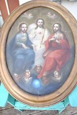 HUGE + MAGNIFICENT  Mexican 19th Century Retablo Oval Painting Holy Trinity