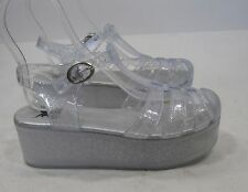 "Clear 2-1/4"" Platform Heel Fashion Beach Sexy Sandals Size 7.5"
