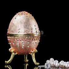 Pink Egg Shaped Crystal Metal Trinket Boxes Figurines Collection Wedding Gifts
