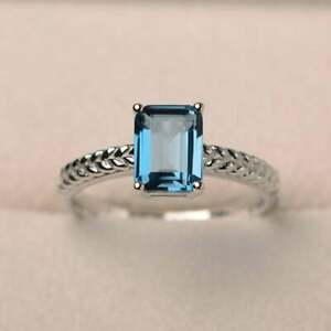 2ct   Blue topaz Emerald Cut 14K White Gold Over Special Engagement Ring