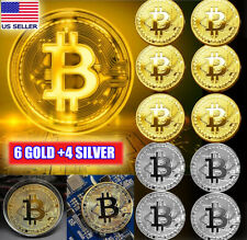 10 Pcs Gold & Silver Bitcoin Coins Commemorative Collectors Gold Plated Bit Coin