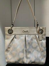 COACH 21021 Ashley Op Art Hippie linen shoulder bag; metallic silver/cream