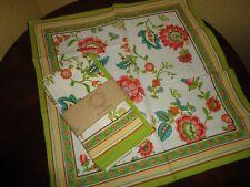 JABARA MARRAKESH FLORAL PINK TEAL GREEN  (4) SQUARE DINNER NAPKINS 19X18 COTTON