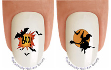 Nail Art #735H Holiday Halloween Boo Bat Witch WaterSlide Nail Decals Transfers