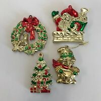 Vintage Hard Plastic Christmas Ornaments Shiny Gold Red Green Holiday Lot of 4