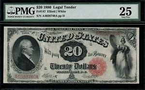 "1880 $20 Legal Tender FR-147 - ""Hamilton"" - Graded PMG 25 - Very Fine"