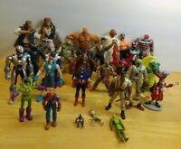 Huge Random Lot of 27 Action Figure Toys Villains Heroes 3lb+ Pirates Cyborg etc