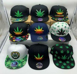 NEW Ganja Leaf Weed Print Snapback Hip Hop Baseball Cap Unisex