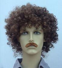 Brown Curly Mens Fancy Dress Wig &  Straight Moustache(Short Cut)