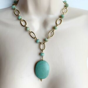 Lia Sophia Turquoise Mint Green Beaded Chain Necklace Oval Pendant Gold Tone