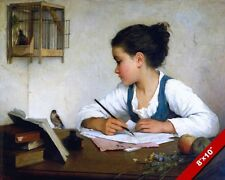 BEAUTIFUL GIRL DISTRACTED FROM SCHOOL WORK OIL PAINTING ART REAL CANVAS PRINT