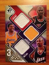 2009-10 Upper Deck 3-Star Swatches MICHAEL JORDAN-MAGIC JOHNSON-KARL MALONE /125