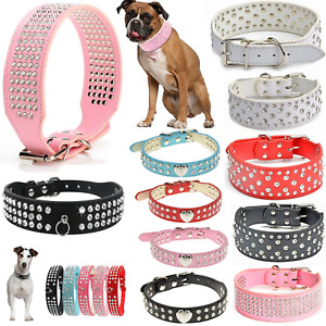 Adjustable Pet Dog Collar Crystal Rhinestone Design Puppy Diamond Bling Leather