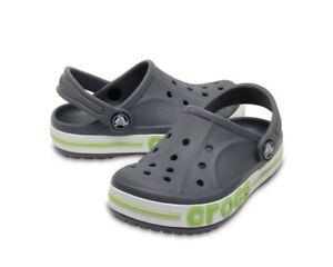 Crocs Bayaband Clogs, Gray & Green, Children's Size 10, C10 - New -Free Shipping