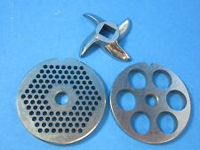 #8 (3) pc Meat Grinder FINE & VERY LARGE plate knife blade Stainless Cabelas LEM