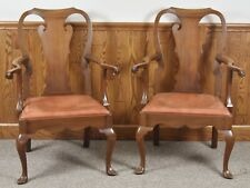 Pair of KITTINGER Williamsburg Chippendale Mahogany Arm Chairs CW 151 Leather