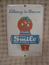 Vintage Smile Orange Soda Painted Metal Advertising Door Push Press Sign