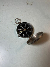 """Vintage TC Japan Compass Hinged Cover """"D"""" Engraved Mirrored Back 1 3/4"""" Round"""