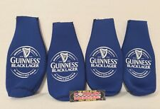 Guinness Black Lager Blue Zipper 12 oz Bottle Koozies - Lot of (4) - Brand New!