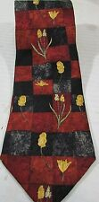 ERMENEGILDO ZEGNA MENS NECK TIE  FLOWER GEOMETRIC DESIGN ITALY 100%