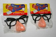 2 Dime Store Toy Plastic Mr Big Nose Joke Glasses 1960s Nos New MIP Hong Kong