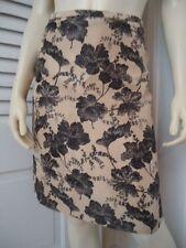 ANN TAYLOR Skirt 4 Gold Black 100% Silk Floral Straight Slub Yarn Lined CLASSY!