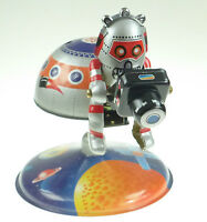 SPACE STATION TIN TOY WITH ASTRONAUT &  CAMERA SPACEMAN  CLOCKWORK  PRODUCTION