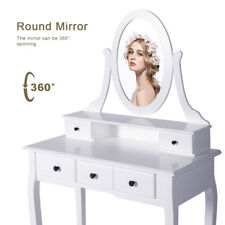 Wood White Vanity Dressing Makeup Table Set Round Mirror 5Drawers With Stool New