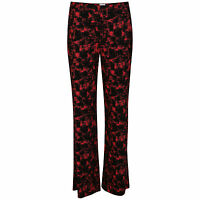 Marks and Spencer Ladies Abstract Print Black Red Wide Leg Trousers Jersey M&S