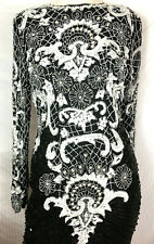 CHIC 80s Sweelo Lace Pattern Beaded Evening Dress Cocktail Pearls Floral