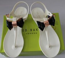 TED BAKER SAOMI CREAM/BLACK BOW THONG PVC SANDAL US 10/ UK8/ EU41