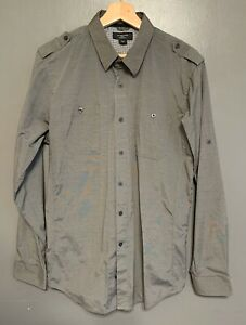 ATTENTION MENS LARGE GRAY PIN STRIPED CHECK CUFFS BUTTON FRONT SHIRT MODERN FIT