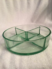 Vintage green depression glass-round divided serving dish
