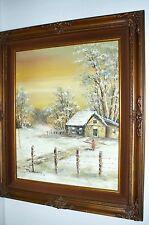 Vintage Winter Landscape Oil Painting By Schiller