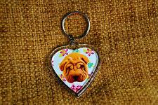 Shar Pei Dog Gift Keyring Dog Key Ring heart shaped SharPei gift Birthday Gift