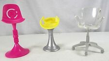 Lot of 3 Miscellaneous Barbie Doll Furniture Chairs