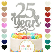 25 years wedding anniversary glitter silver cake topper silver years 25yrs 25th