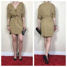 WAREHOUSE Military Style Olive Plunge Tied Neck Belted Dress Size 12 UK