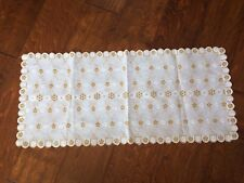 New listing Table Runner Doily White and Brown Scalloped Embroidered Polyester Fabric 30x13