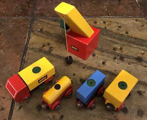 Vintage Brio Railway Crane With Cargo Trucks For Thomas Wooden Trains