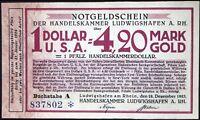 LUDWIGSHAFEN 1923 $1 USA = 4.20 Mark Gold Wertbeständiges Notgeld