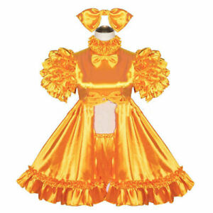 Sissy Maid Lockable yellow satin Dress  Cosplay Costume Tailor-mad