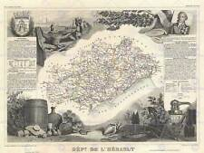 GEOGRAPHY MAP ILLUSTRATED ANTIQUE HERAULT LARGE POSTER ART PRINT BB4327A