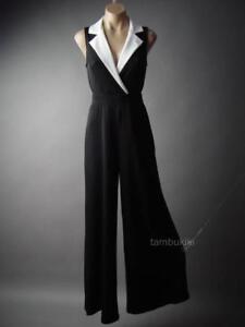 Sale Tuxedo Collar Black Wide Leg Dress Pant Suit Evening 295 mv Jumpsuit S M L