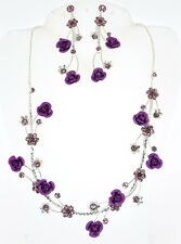 Rose Flower and Genuine Austrian Crystals Necklace and Earrings Set (NE3049)