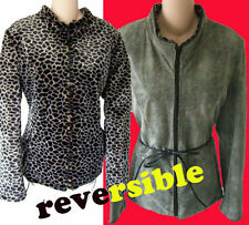 Leopard Snake FUR Jacket s m racing reversible python leather coat green faux
