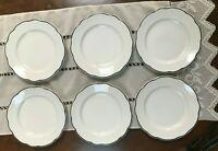 "6 Buffalo China Blue Rim Scalloped Edge Salad Plates 8 1/2"" Vtg Restaurant Ware"