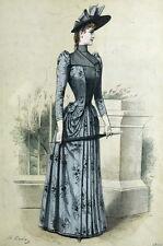 Fashion Robe Broderie Mode Paris Elegant Gourbaud Lithographie 19e